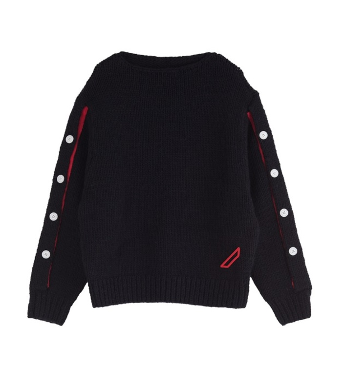 HAND Knitted Button jumper[black]