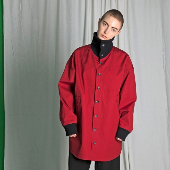 my beautiful landlet weather cloth highneck shirt blouson ( RED)
