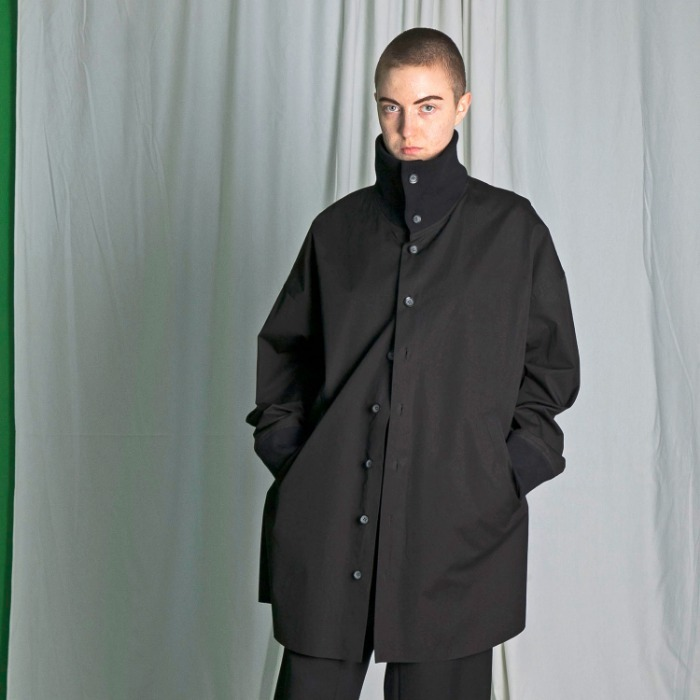 my beautiful landlet weather cloth highneck shirt blouson (BLACK)